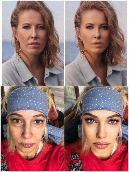 Собчак и Кудрявцева поучаствовали в челлендже «до и после» фотошопа