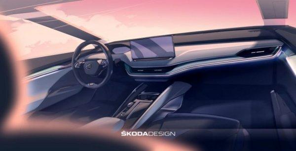 Футуристичный интерьер Skoda Enyaq iV 2021 показали на фото